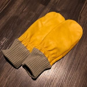 Faux Leather Mittens